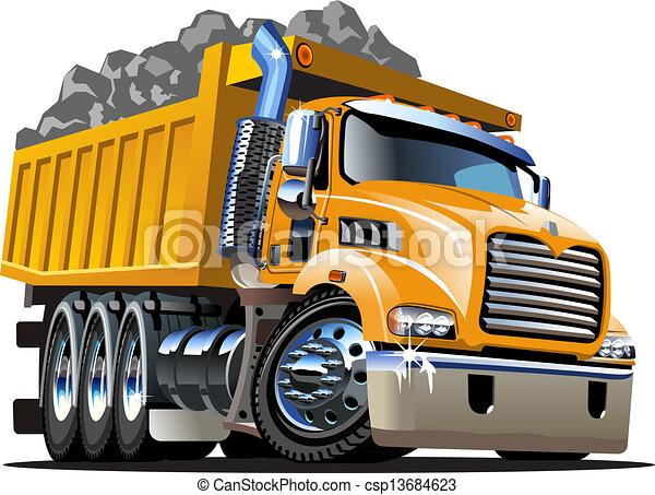 vettore, camion, cartone animato, discarica - csp13684623