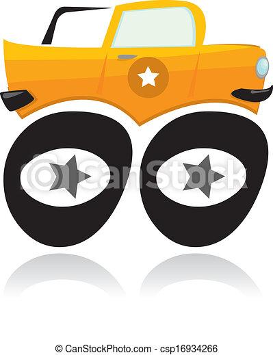 vettore, camion, cartone animato, mostro - csp16934266