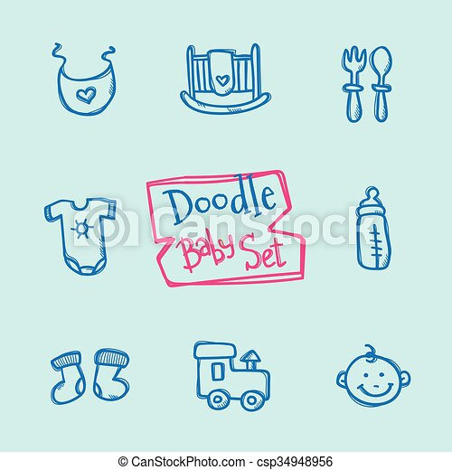 vettore, carino, bambini, icone, scarabocchiare, set., collezione, mano, oggetti, bambino, disegnato - csp34948956