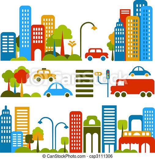 vettore, carino, strada, illustrazione, città - csp3111306