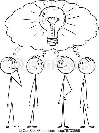 vettore, cartone animato, fondare, gruppo, o, uomini affari, lavoro squadra, problema, illustrazione, brainstorming, uomini, solution., concept. - csp76733556