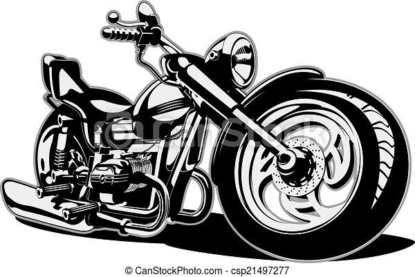 vettore, cartone animato, motocicletta - csp21497277