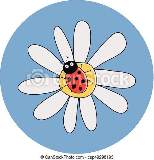 vettore, coccinella, fiore, rosso, camomile - csp49298193