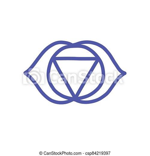 vettore, colorare, illustrazione, chakra, ajna, icona, scarabocchiare - csp84219397