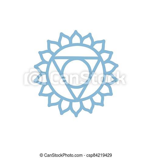 vettore, colorare, illustrazione, chakra, vishuddha, icona, scarabocchiare - csp84219429