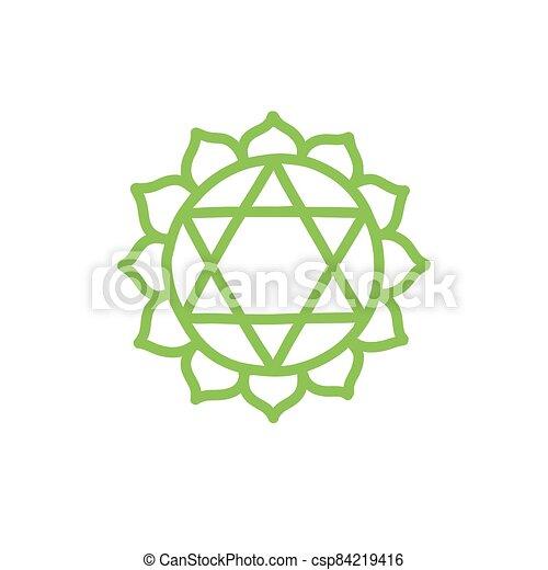 vettore, colorare, illustrazione, chakra, anahata, icona, scarabocchiare - csp84219416