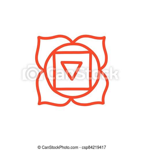 vettore, colorare, illustrazione, chakra, muladhara, icona, scarabocchiare - csp84219417
