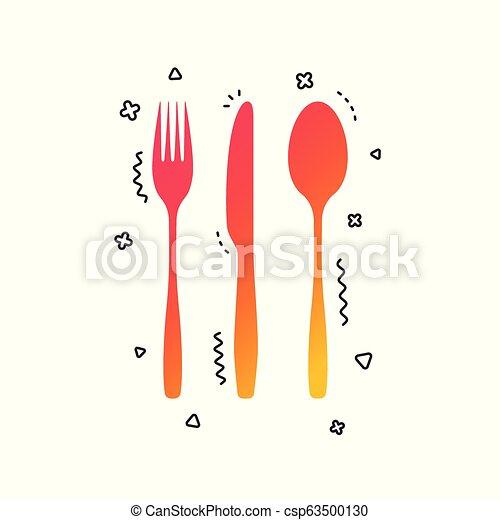 vettore, coltello, tablespoon., coltelleria, set., forchetta - csp63500130