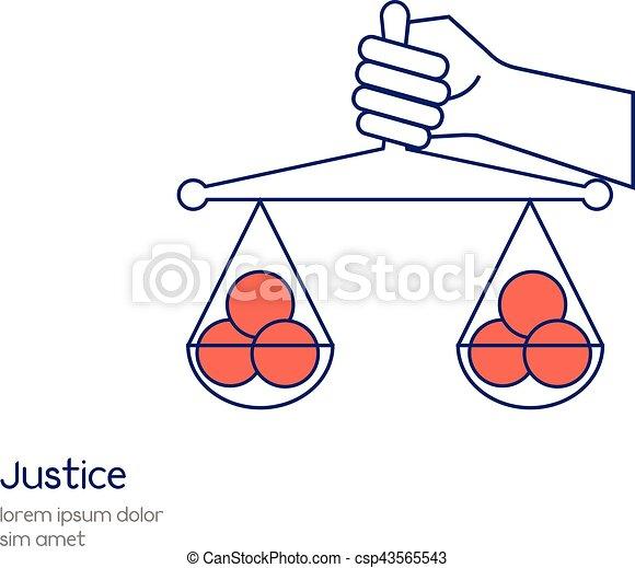vettore, concetto, uguaglianza, illustration., giustizia, mano, scala, presa a terra, linea, icon. - csp43565543