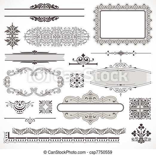 vettore, decorazione, set, pagina, elementi - csp7750559