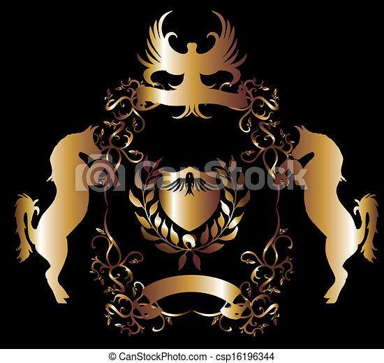 vettore, dorato, arte, scudo, aquila - csp16196344
