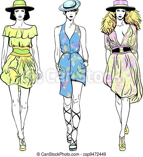 Ben noto Vettore, estate, set, modelli, cima, moda, cappelli, vettori  MQ28