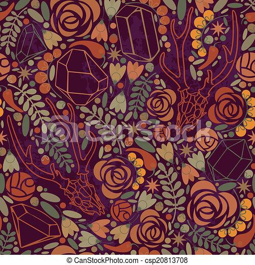 vettore, floreale, ornament., illustrazione, cranio - csp20813708