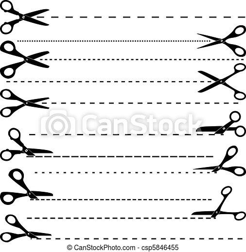 vettore, forbici, taglio, set - csp5846455