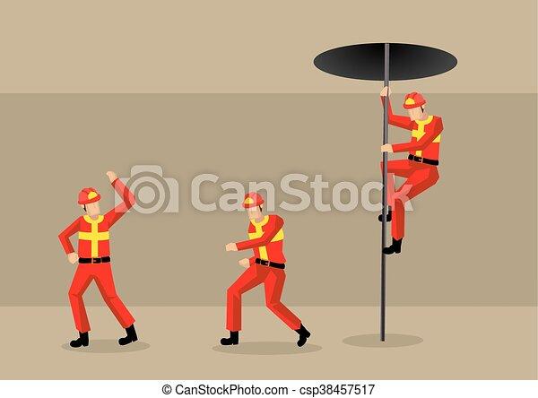 vettore, fuoco, illustrazione, stazione, pompieri, cartone animato - csp38457517