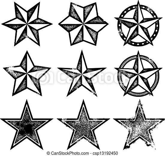 vettore, grunge, stelle - csp13192450