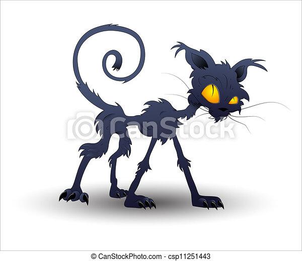 vettore, halloween, gatto - csp11251443