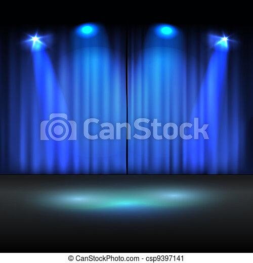 vettore, illuminato, sagoma, palcoscenico - csp9397141