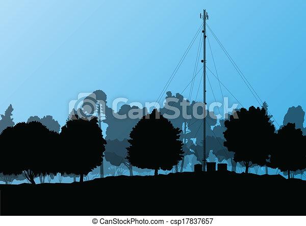 vettore, industriale, telefono mobile, concetto, radio, fondo, stazione, torre, base, telecomunicazioni, ingegneri - csp17837657