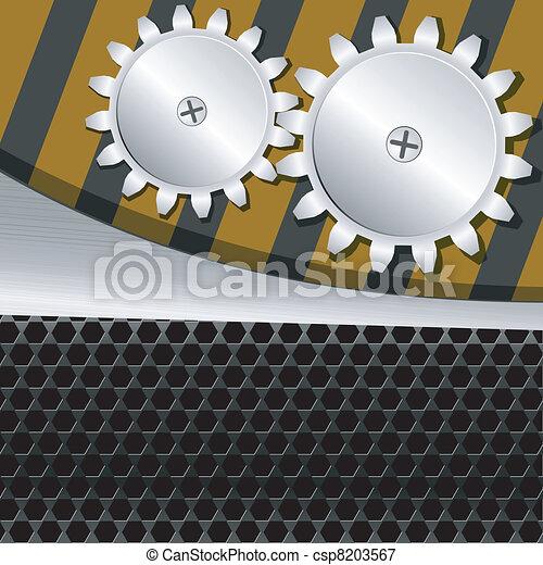 vettore, ingranaggi, fondo, illustrazione, metallo - csp8203567