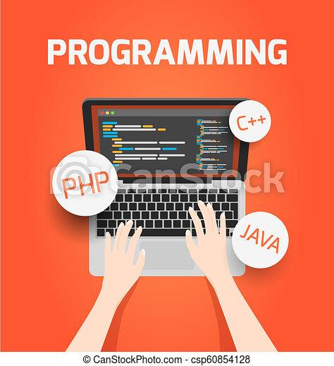 vettore, laptop, concetto, programmazione, illustration. - csp60854128