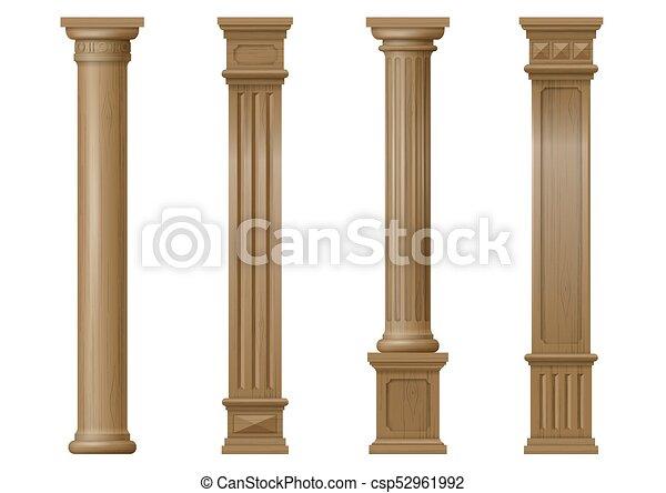 Vettore, legno, set, colonne, classico. Vettore, legno, balusters ...