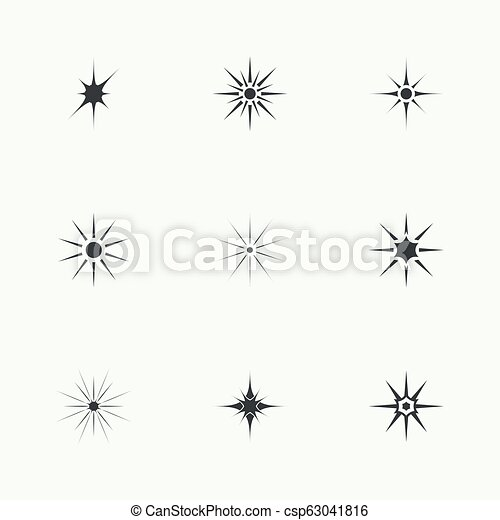 vettore, luci, set, scintilla, stars. - csp63041816