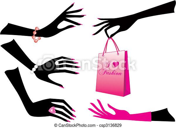 vettore, mani, femmina - csp3136829