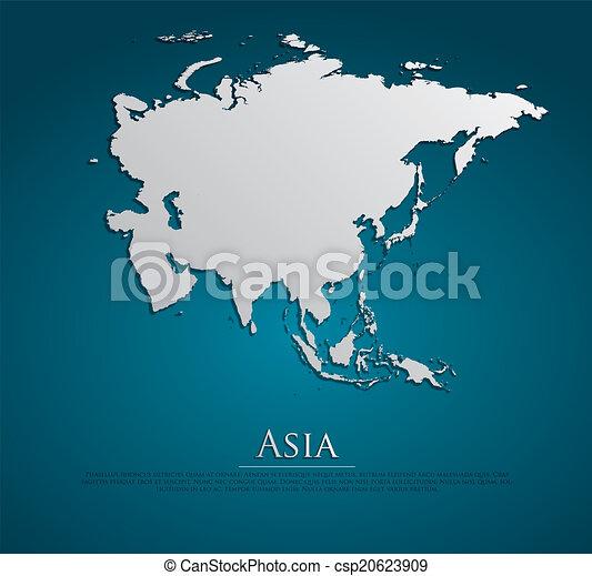 vettore, mappa, carta, asia, scheda - csp20623909