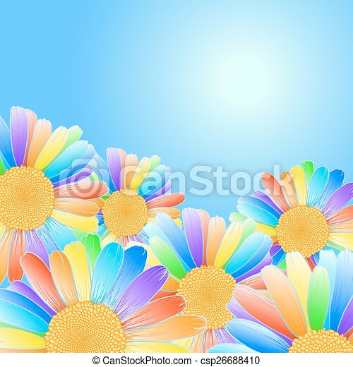 Vettore Margherite Design Blu Arcobaleno Petali Cielo Fondo