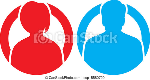vettore, maschio, avatar, femmina, icone - csp15580720