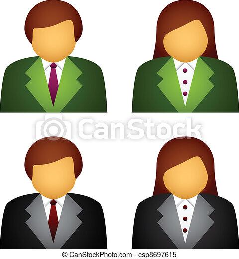 vettore, maschio, femmina, icone affari - csp8697615