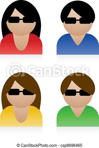 vettore, maschio, femmina, icone - csp8696465
