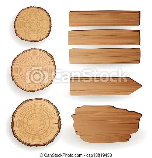 vettore, materiale, legno, elementi - csp13819433