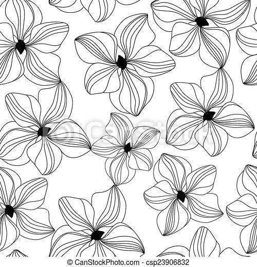 vettore, modello, orchidea colore rosa, seamless - csp23906832