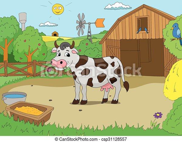 Vettore mucca fattoria cartone animato colorare libro