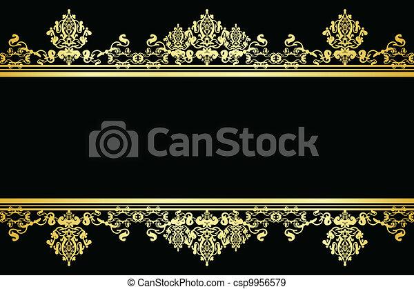 vettore, nero, oro, fondo - csp9956579