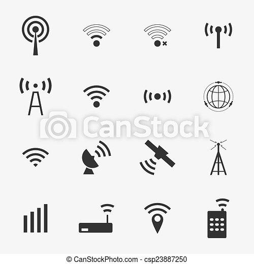 vettore, nero, set, differente, fili, icone, wifi - csp23887250