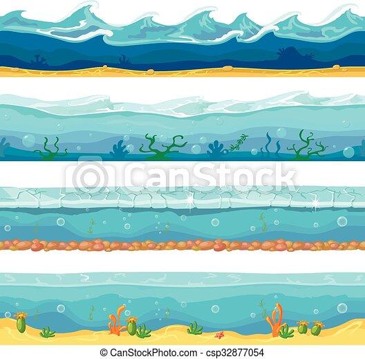 Vettore O Ui Grafico Mare Natura Onde Sfondi Seamless