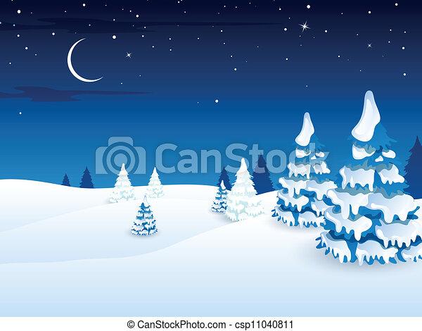 vettore, paesaggio inverno - csp11040811