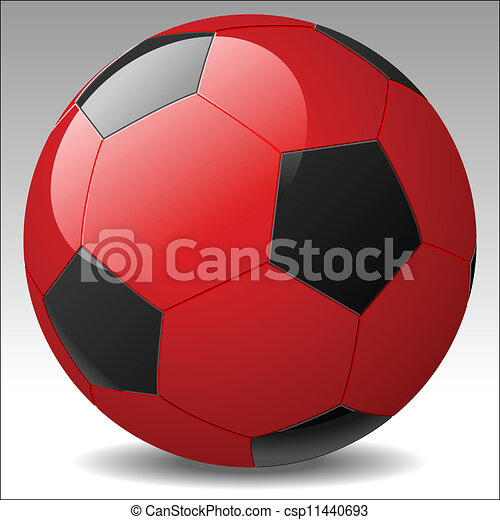 vettore, palla calcio, rosso - csp11440693