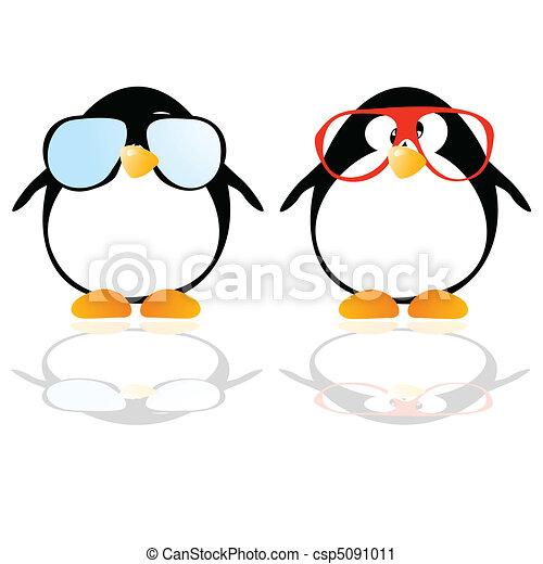 vettore, pinguini, occhiali - csp5091011