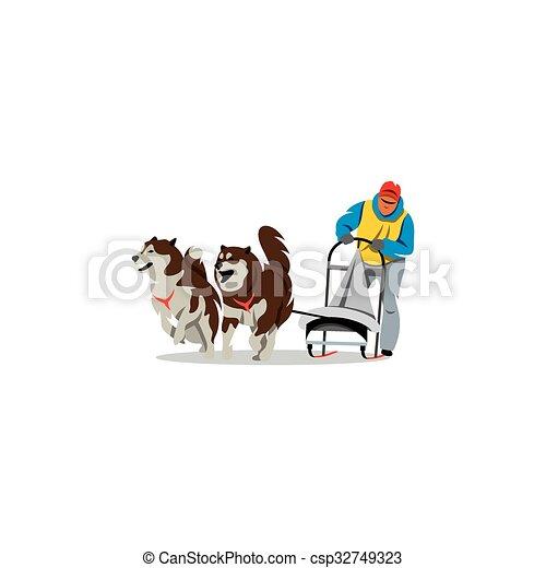 vettore, racing., illustration., cane slitta - csp32749323