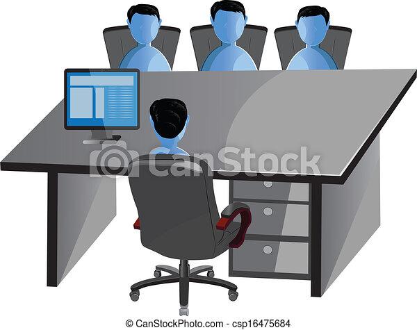 Capo Ufficio Disegno : Vettore riunione capo. suo persone ufficio dove seduta