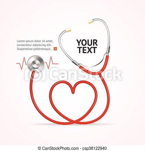 vettore, rosso, stethoscope. - csp38122940