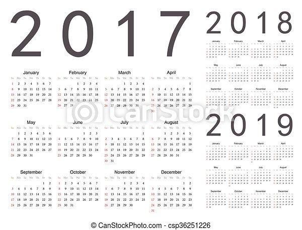 Calendario Numero Settimana 2019.Vettore Set Calendari 2017 2019 Anno 2018 Europeo