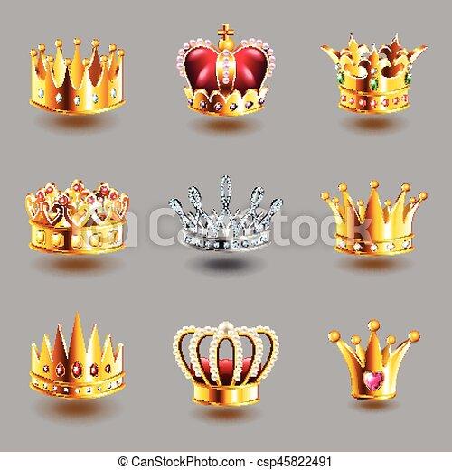 vettore, set, corone, icone - csp45822491