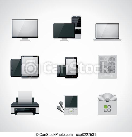 vettore, set, icona computer - csp8227531