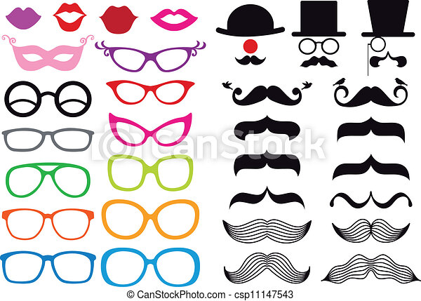 vettore, set, occhiali, baffi - csp11147543