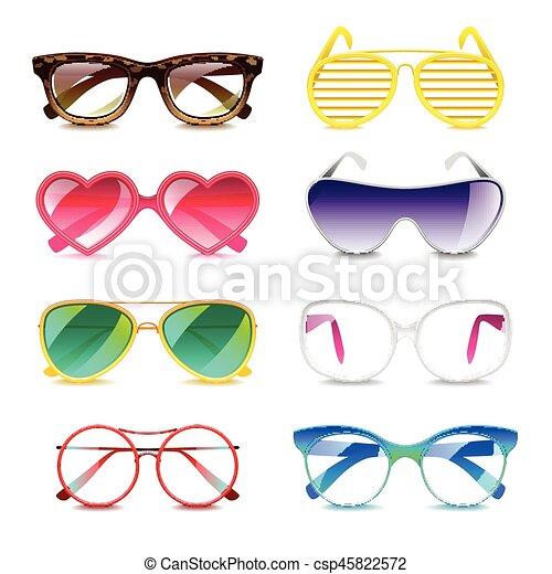 vettore, set, occhiali da sole, icone - csp45822572